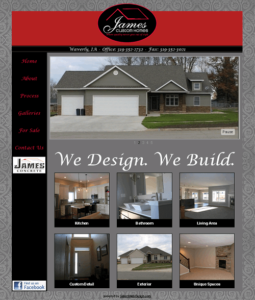James Custom Homes Website Thumbnail